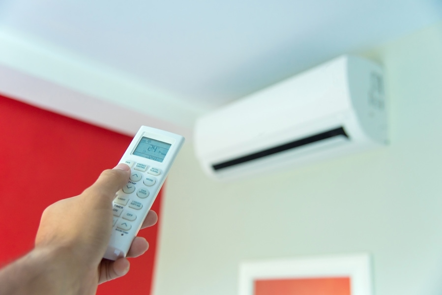ductless air conditioner in home representing how it can improve indoor air quality and control humidity