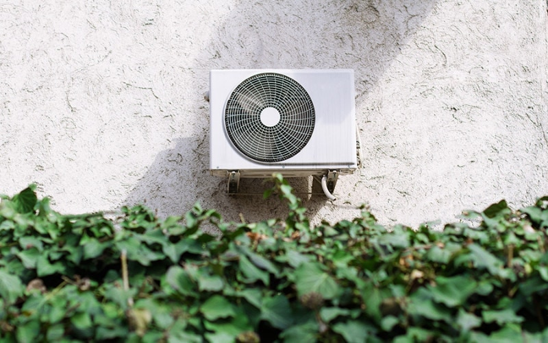 A central air conditioner attached to a home in Findlay